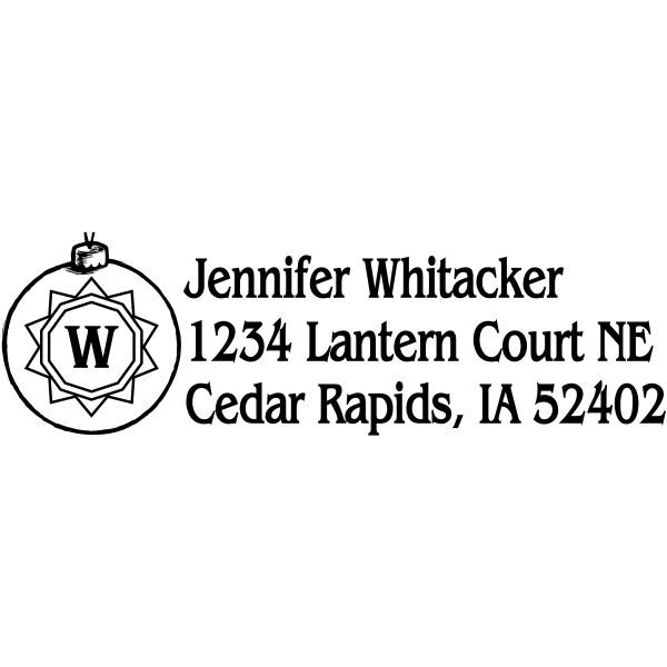 Monogram Ornament Holiday Return Address Stamp
