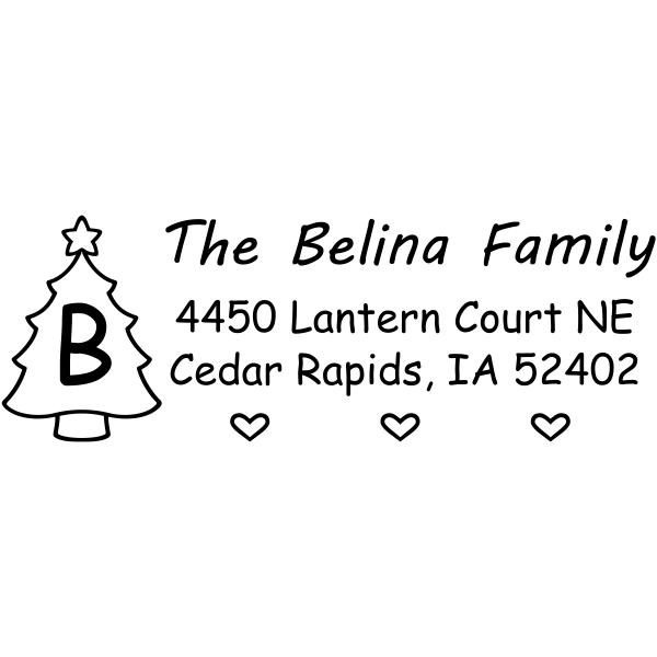 Monogram Tree Holiday Return Address Stamp