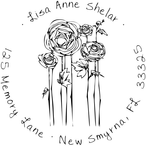 Flowers Sketch Custom Address Stamp