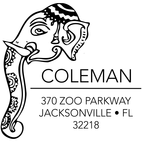 Decorated Elephant Square Address Stamp