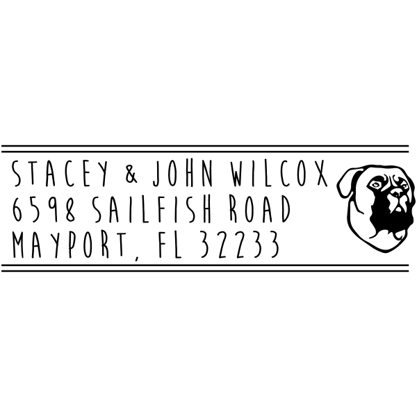 Bullmastiff Dog Address Stamp