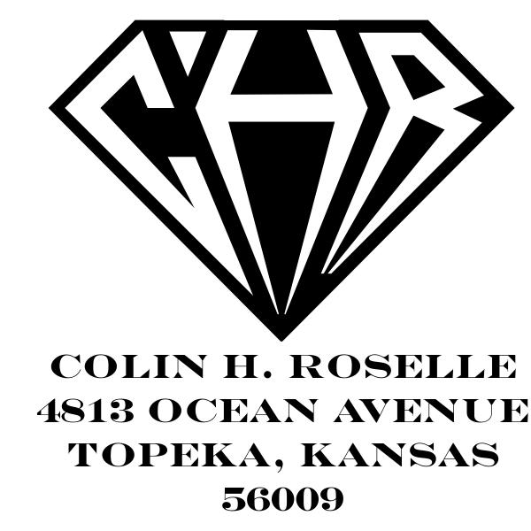 Inverted Diamond Address Monogram Stamp