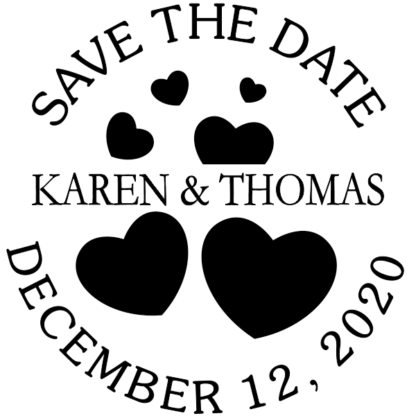 Save the Date with Hearts Stamp