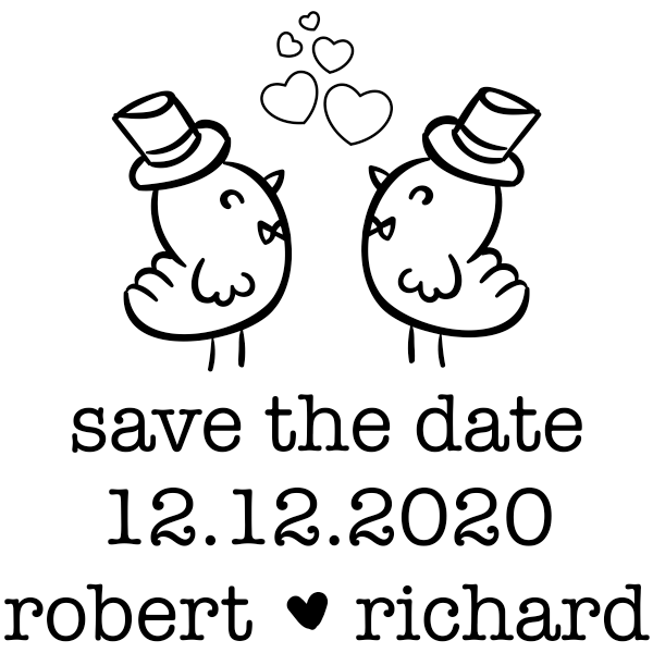 Gay Men Chicks Save the Date Stamp