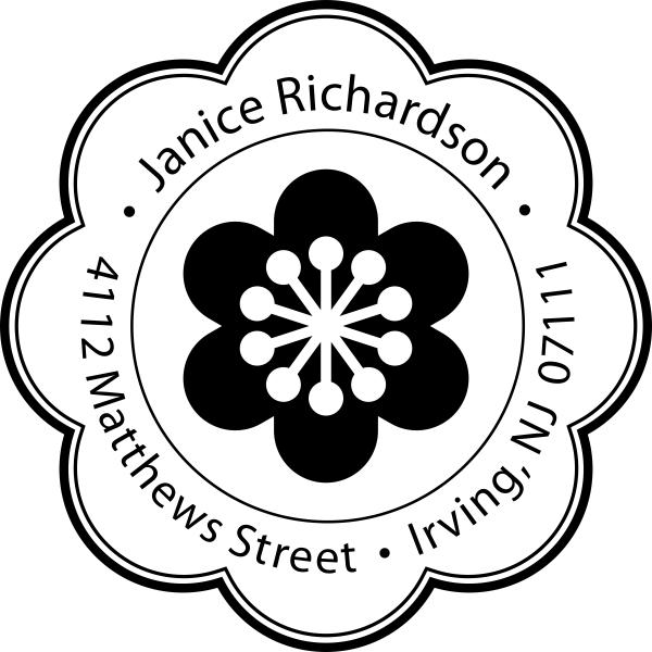 Designer Flower Address Stamp
