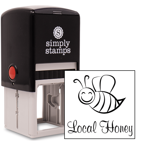 Local Honey Cutsie Bee Rubber Stamp