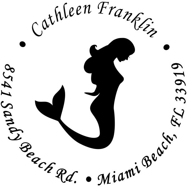 Round Mermaid Address Stamp