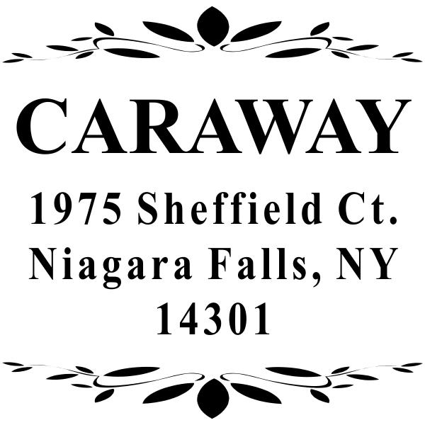 Caraway Leaf Deco Return Address Stamp