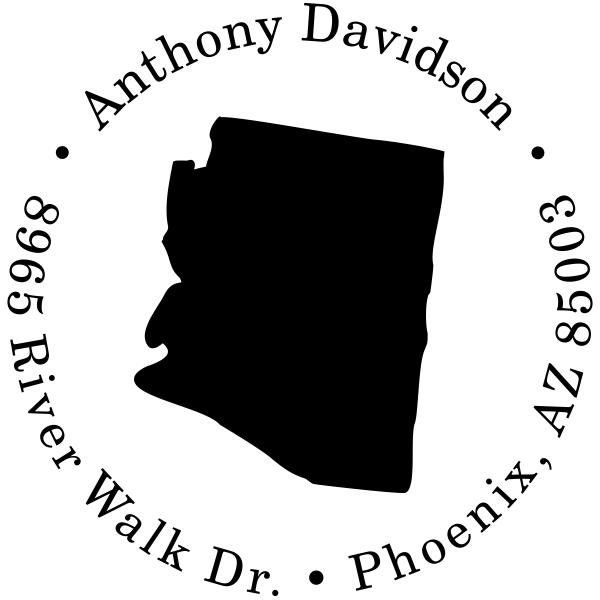 Arizona Round Address Stamp