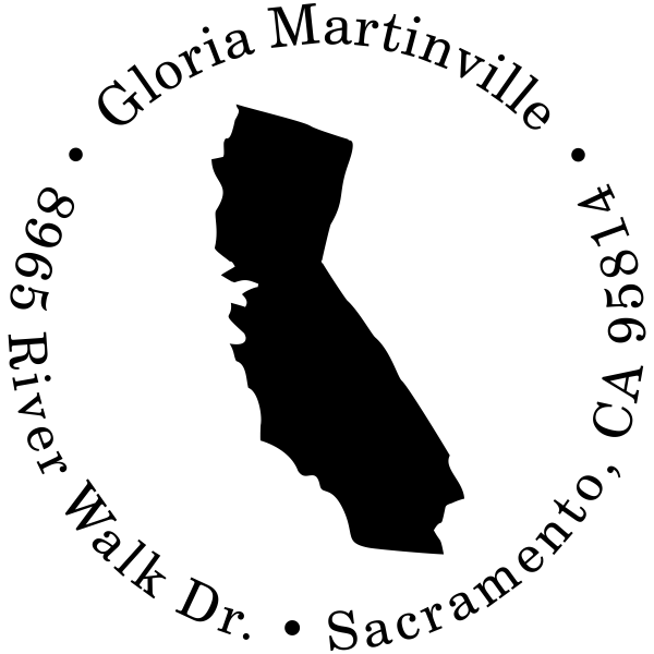 California Round Address Stamp