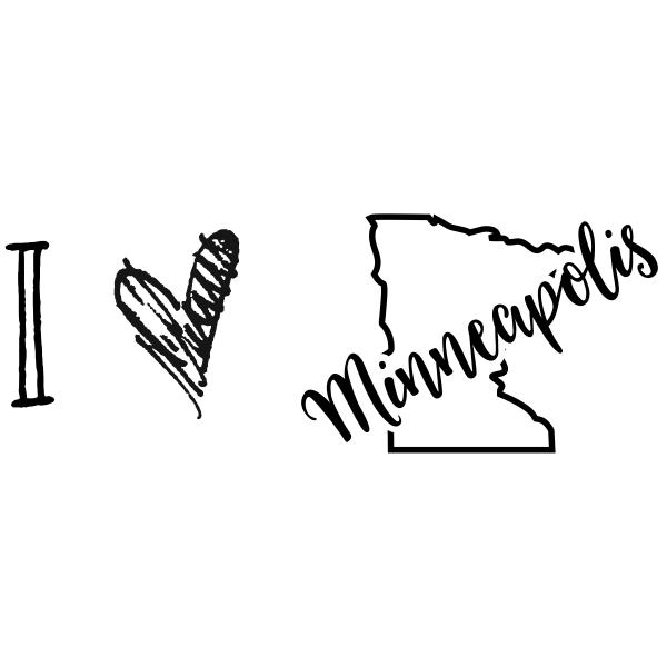 I Love Minnesota Rubber Stamp