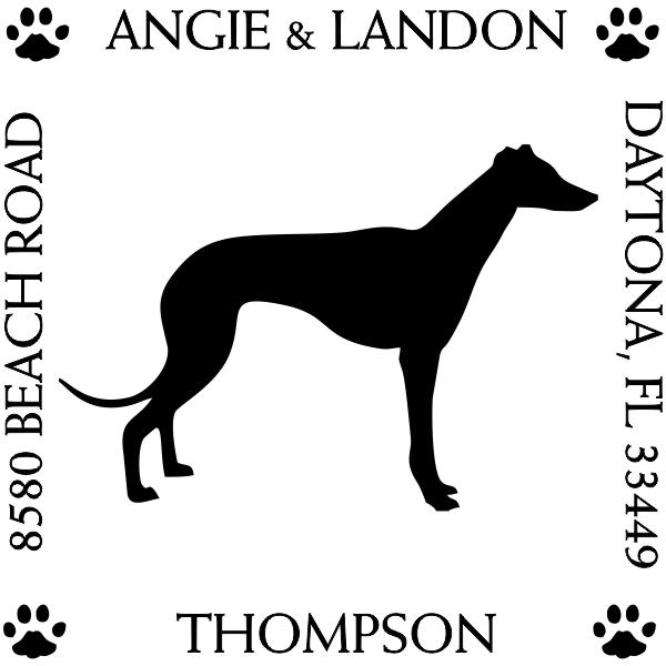 Greyhound Pet Lover Dog Address Stamp