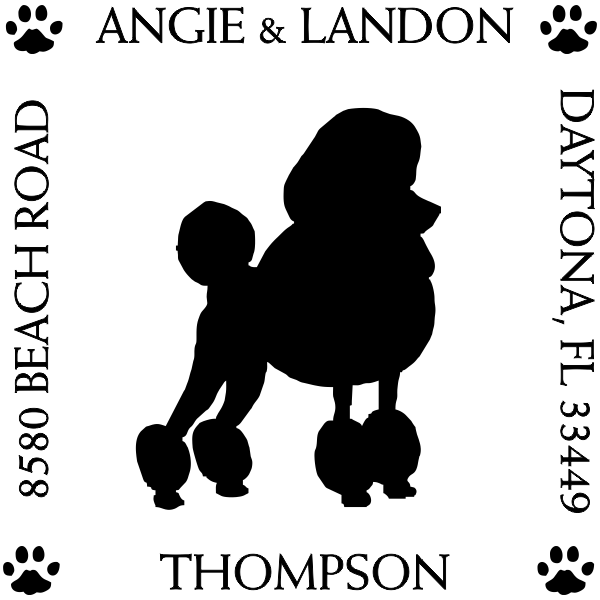 Poodle Pet Lover Dog Address Stamp
