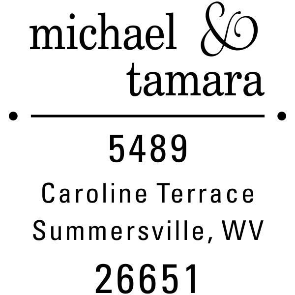 Line Dots Return Address Stamp