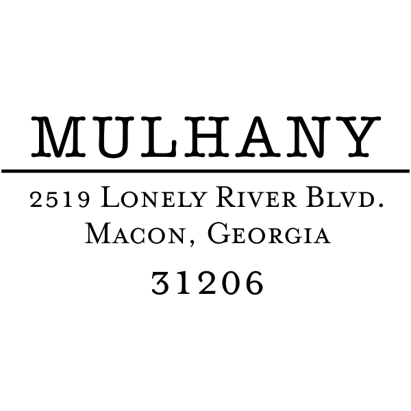 Mulhany Return Address Stamp