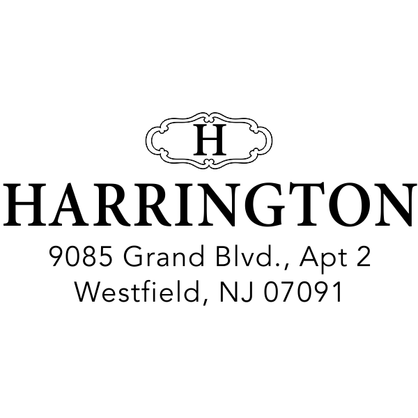 Harrington Monogram Return Address Stamp