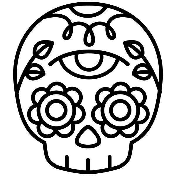 Skull Candy Flower Halloween Craft Rubber Stamp