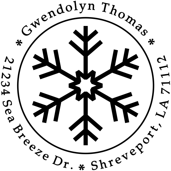 Six Point Snowflake Return Address Stamp