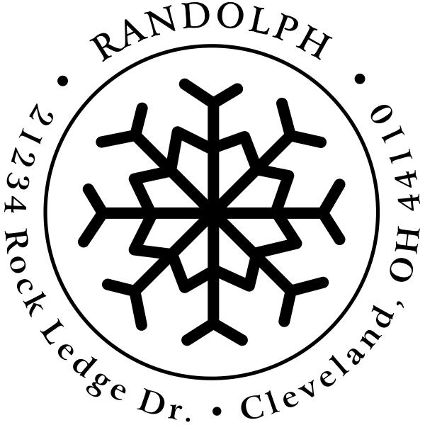 Eight Point Snowflake Return Address Stamp