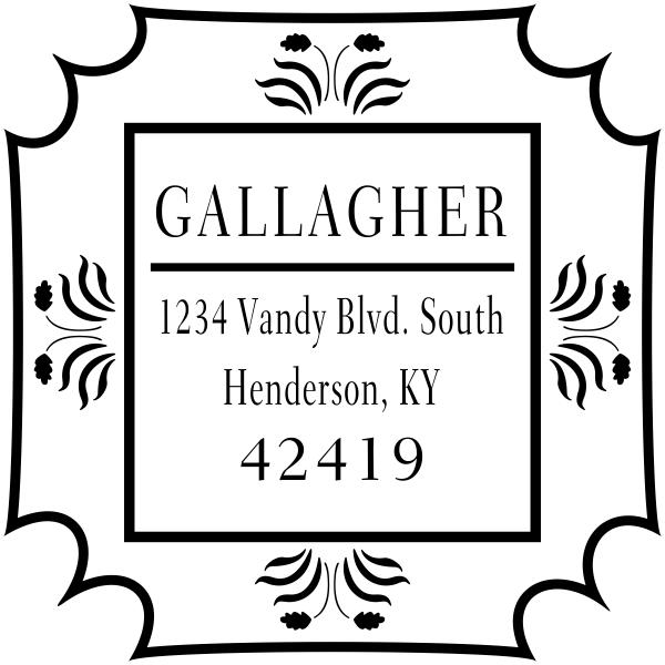Gallagher Flower Border Address Stamp