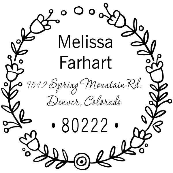 Flower Wreath Address Stamp