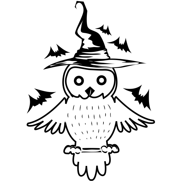 Owl Witch with Bats Craft Stamp