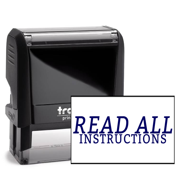 Read All Instructions Rubber Stamp