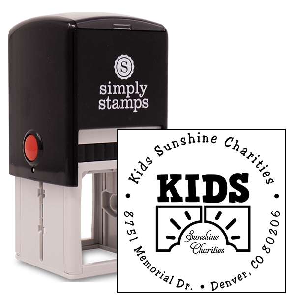 Charity Custom Logo Round Address Stamp