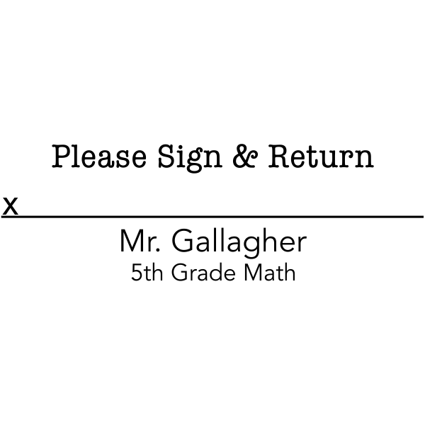 Sign and Return Teacher Rubber Stamp