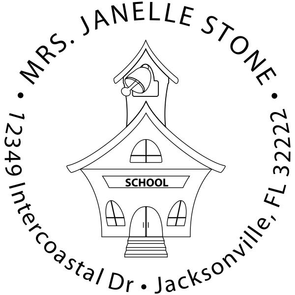 School House Round Teacher Rubber Stamp