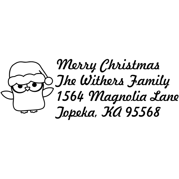 Christmas Owl Custom Return Address Stamp