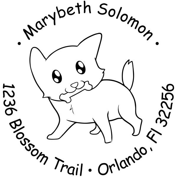 Doggy with a Bone Return Address Stamp