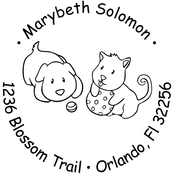 Puppies Playing Return Address Stamp