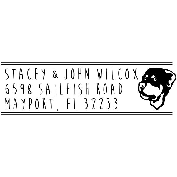 Rottweiler Dog Address Stamp
