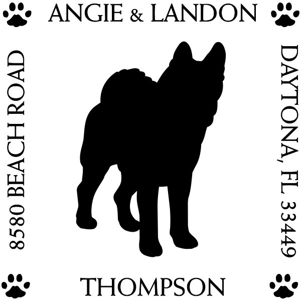 Akita Pet Lover Dog Return Address Stamp