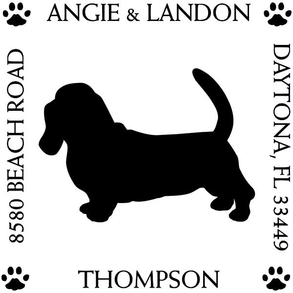 Basset Hound Pet Lover Dog Return Address Stamp