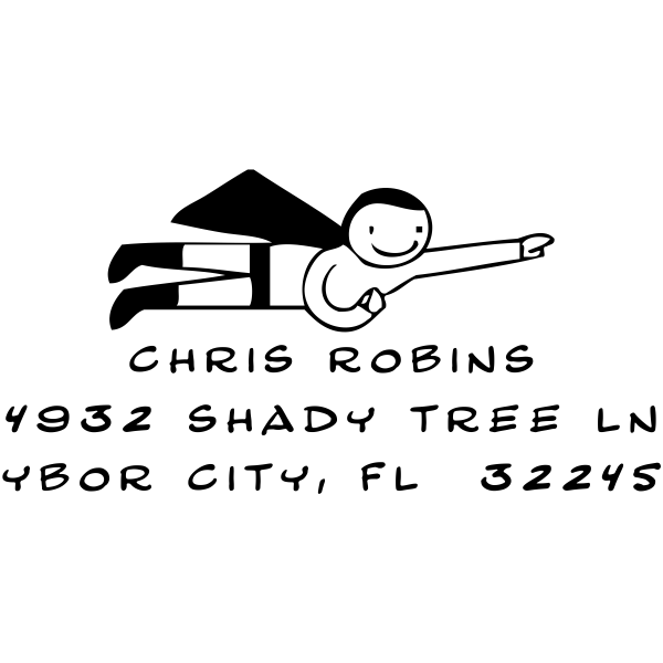 Cartoon Superhero Custom Return Address Stamp