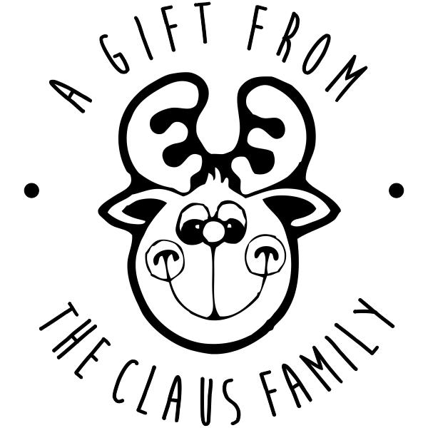 Custom Happy Reindeer Gift Label Rubber Stamp