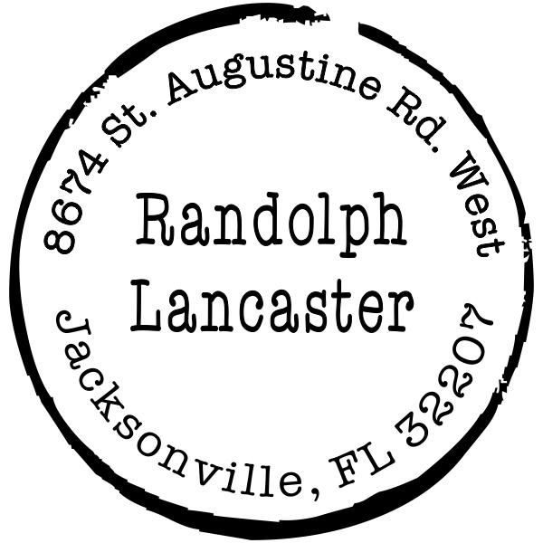 Lancaster Round Border Address Stamp
