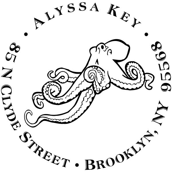 Floating Octopus Return Address Stamp