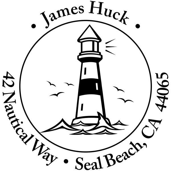 Island Lighthouse Round Return Address Stamp