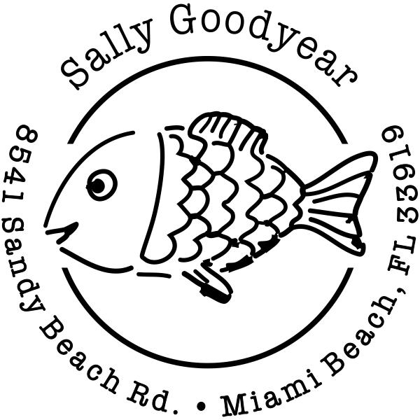 Sun Fish Return Address Stamp