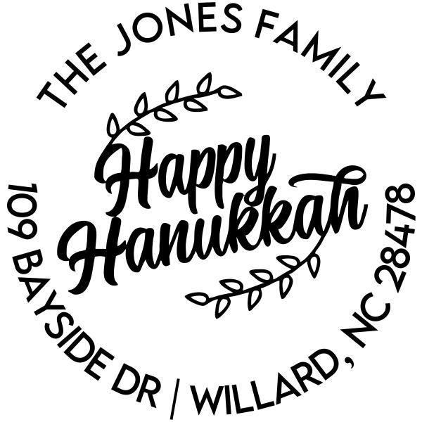 Happy Hannukah Round Custom Holiday Address Stamp