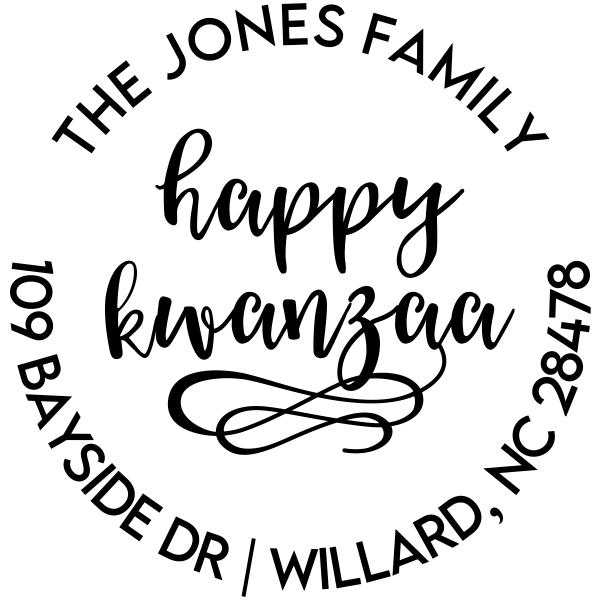 Happy Kwanzaa Round Custom Holiday Address Stamp