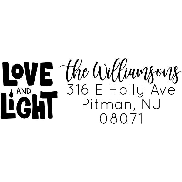 Love and Light Custom Hanukkah Address Stamp