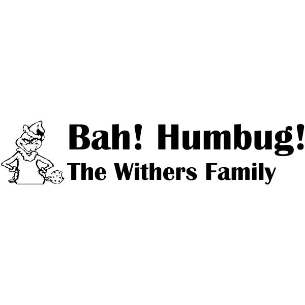 Bah Humbug Grinch Custom Rubber Stamp