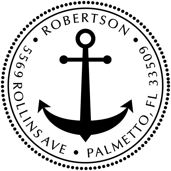 Nautical Anchor Round Address Stamp
