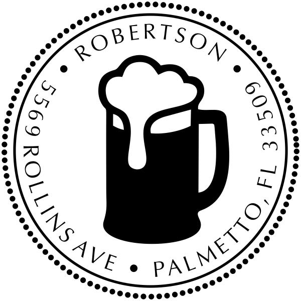 Frosty Beer Round Address Stamp - Self-Inking