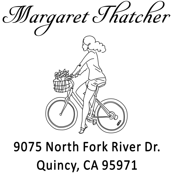 Thatcher Woman Bicycle Address Stamp