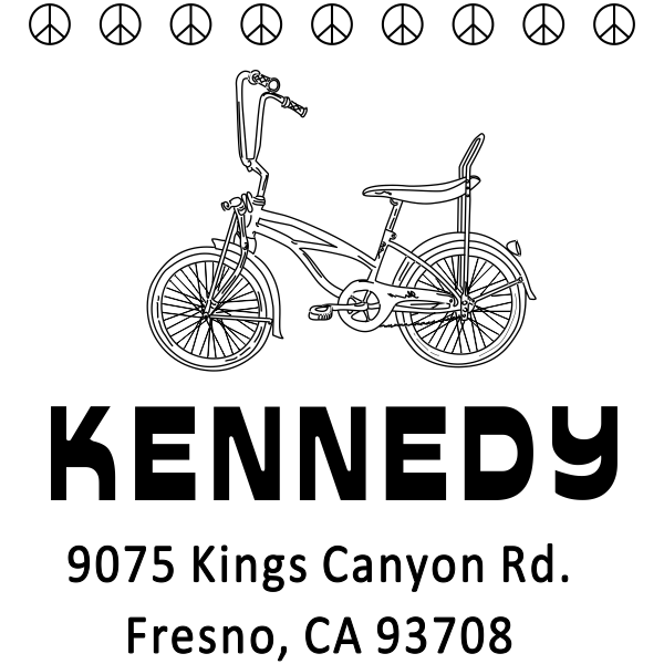 Kennedy 1970's Peace Bicycle Address Stamp